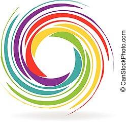 Wellen mit Regenbogenfarben Logo.