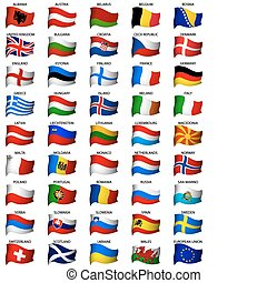wellig, satz, flaggen, europäische