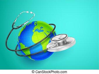 welt, ungefähr, ausstellung, medizin, hintergrund, erde, gesundheit, tag, stethoskop