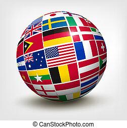 welt, vektor, flaggen, globe., illustration.