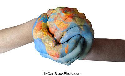 Weltbemalt auf Händen