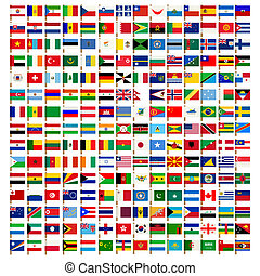 Weltflaggen-Ikonen aufgestellt