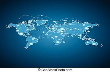 Weltkarte - globale Verbindung