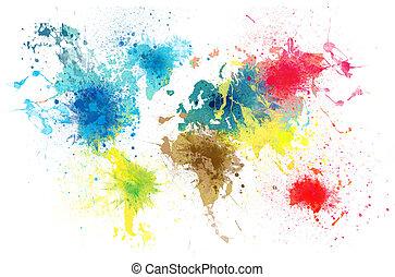 Weltkarte mit Farbspritzen.