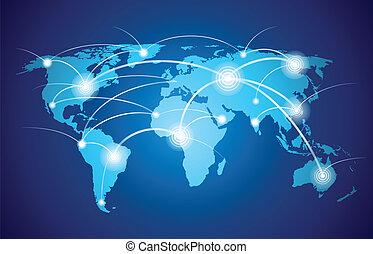 Weltkarte mit globalem Netzwerk.