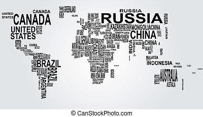 Weltkarte mit Landnamen