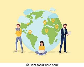 Weltkarte mit Menschen zu Menschen Verbindung