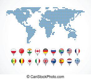 Weltkarte mit Navigations-Ikonen