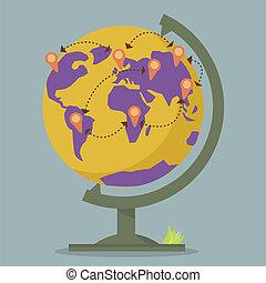 Weltkugelkarten-Netzwerk