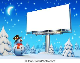 Werbetafel und Schneemannserie