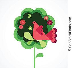 Whimsy Blumenbaum und Vogel