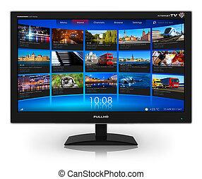 widescreen, video, galerie, fernsehapparat, strömend