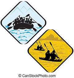 wildwasserrafting, ikone, zeichen, rudern, pictogram., protzen symbol, kajak, meerwasser