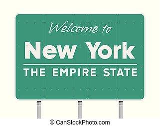 Willkommen bei New York Road Schild.