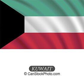 Wing Kuwait Flag auf weißem Hintergrund. Vector Illustration