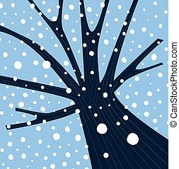 Winterbaum mit fallendem Schnee