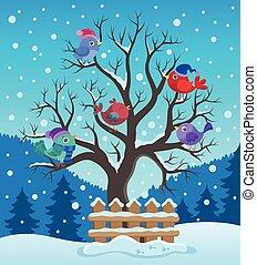 Winterbaum mit Vögeln.