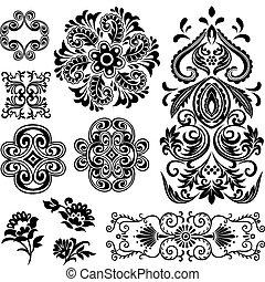 wirbel, floral entwurf, phantasie, muster