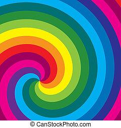wirbel, regenbogen, vector., hintergrund.