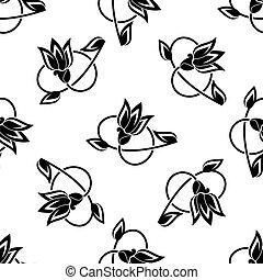 Wirbelnde Blumen, nahtlose Muster.