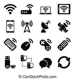 Wireless-Geräte-Icons eingestellt.