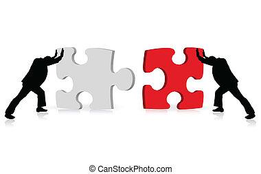 Wirtschaftliches Konzept der Erfolgserreichung zeigt sich durch Puzzle-Zusammenarbeit