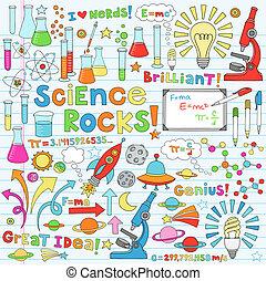 wissenschaft, vektor, abbildung, doodles