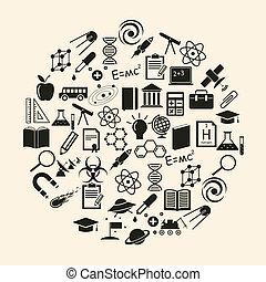 wissenschaft, vektor, ikone