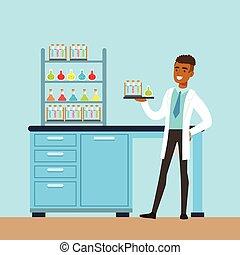 Wissenschaftler, der Forschung in einem Labor, Labor, Vektor Illustration.