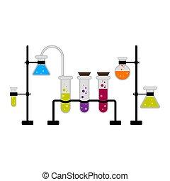 Wissenschaftsexperiment mit verschiedenen Flachs.