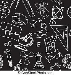 Wissenschaftszeichnungen auf nahtlosem Muster