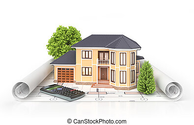 Wohnhaus mit Werkzeugen für Architektenpläne. Wohnprojekt. 3D Illustration