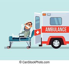 wohnung, auto, character., abbildung, kaputte , vektor, opfer, krankenwagen, karikatur, mann