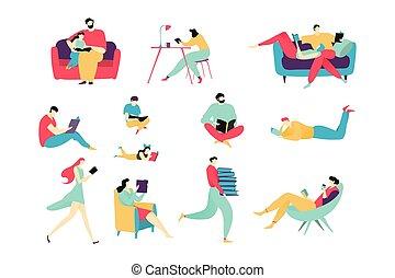 wohnung, buecher, weißes, leute, vektor, lesende , abbildung, satz, karikatur, freigestellt, charaktere