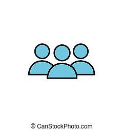 wohnung, mannschaft, avatar, gruppe, internet, linie, stil