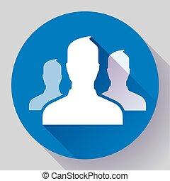 wohnung, personengruppe, design, icon., style.