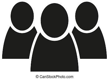 wohnung, personengruppe, vektor, mannschaft, ikone