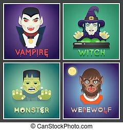 wohnung, satz, monster, heiligenbilder, halloween, zeichen, gruß, brustbild, party, vektor, design, abbildung, hintergrund, stilvoll, rolle, karte, schablone