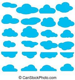 wohnung, satz, wolkenhimmel, sammlung, ikone