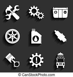 wohnung, service, auto, set., vektor, wartung, ikone