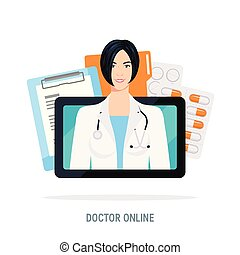 wohnung, stil, begriff, doktor, vektor, online