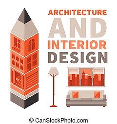 wohnung, stil, begriff, vektor, design, architektur, inneneinrichtung