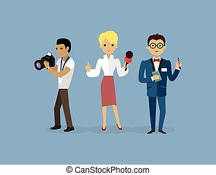 wohnung, stil, gruppe, journalisten, leute, mannschaft