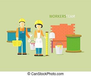 wohnung, stil, personengruppe, arbeiter, mannschaft