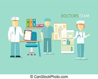 wohnung, stil, personengruppe, doktoren, mannschaft