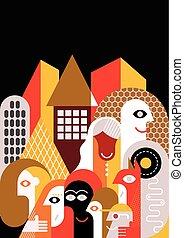 wohnung, stil, personengruppe, groß, design