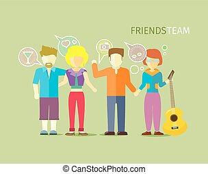 wohnung, stil, personengruppe, mannschaft, friends