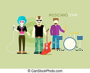 wohnung, stil, personengruppe, musiker, mannschaft