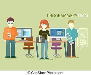 wohnung, stil, personengruppe, programmierer, mannschaft