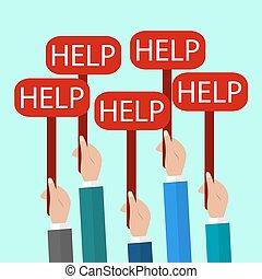 wohnung, wort, help., zeichen & schilder, abbildung, halten hände